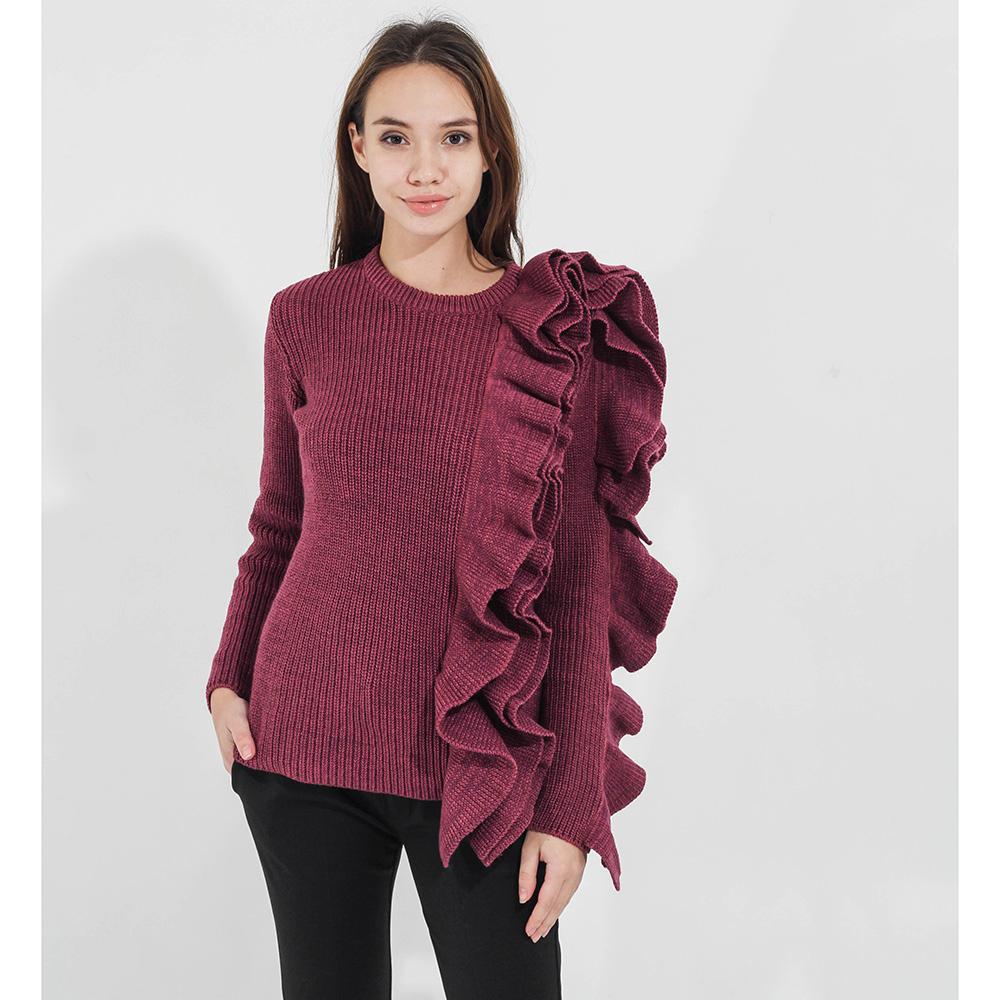 Свитер Woolen Bloom фиолетового цвета с объемными воланами