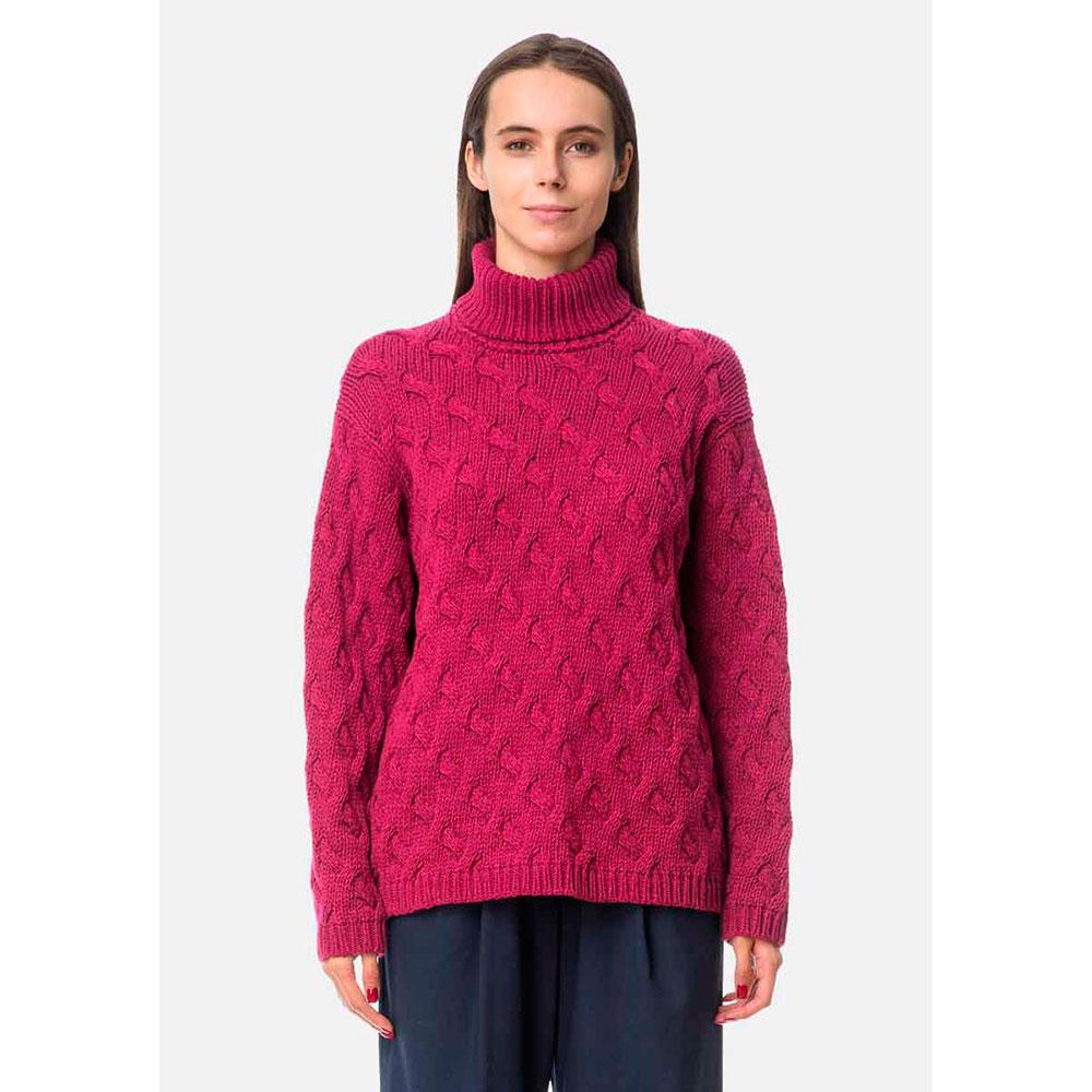 Малиновый свитер RITO с фактурным плетением