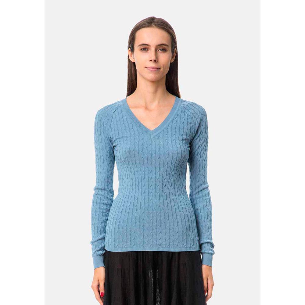 Фактурный свитер RITO голубого цвета V-образным вырезом