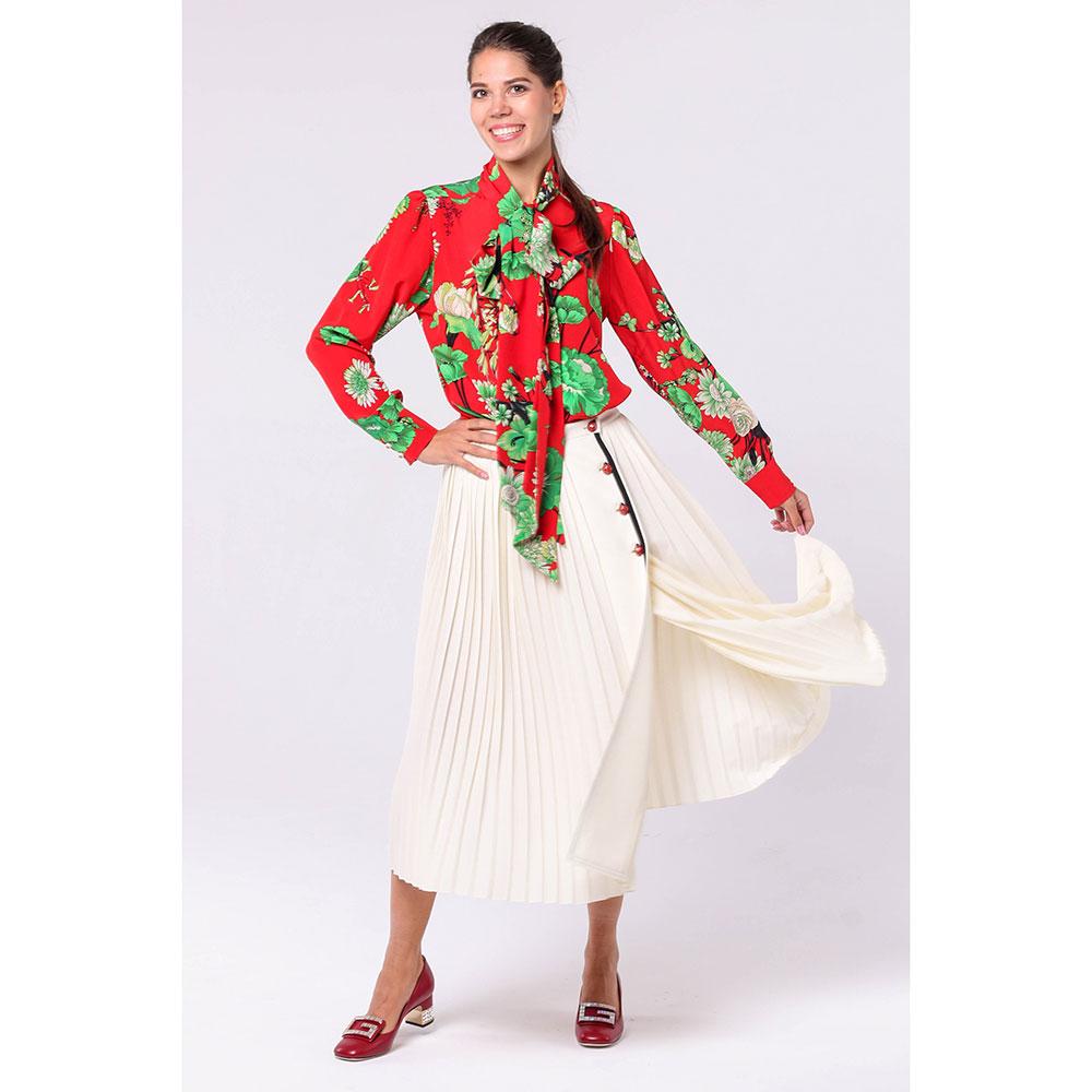 Плиссированная юбка Gucci молочного цвета из шерсти