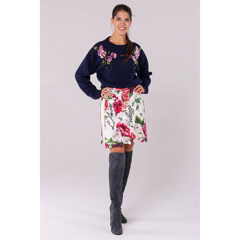 Юбка Dolce&Gabbana белого цвета с цветочным принтом