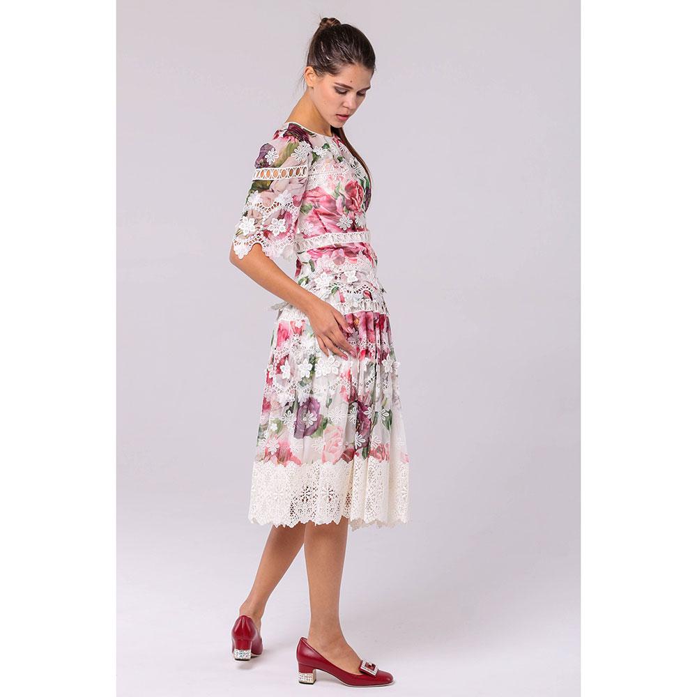 Пышная шелковая юбка Dolce&Gabbana с цветочным принтом и кружевом
