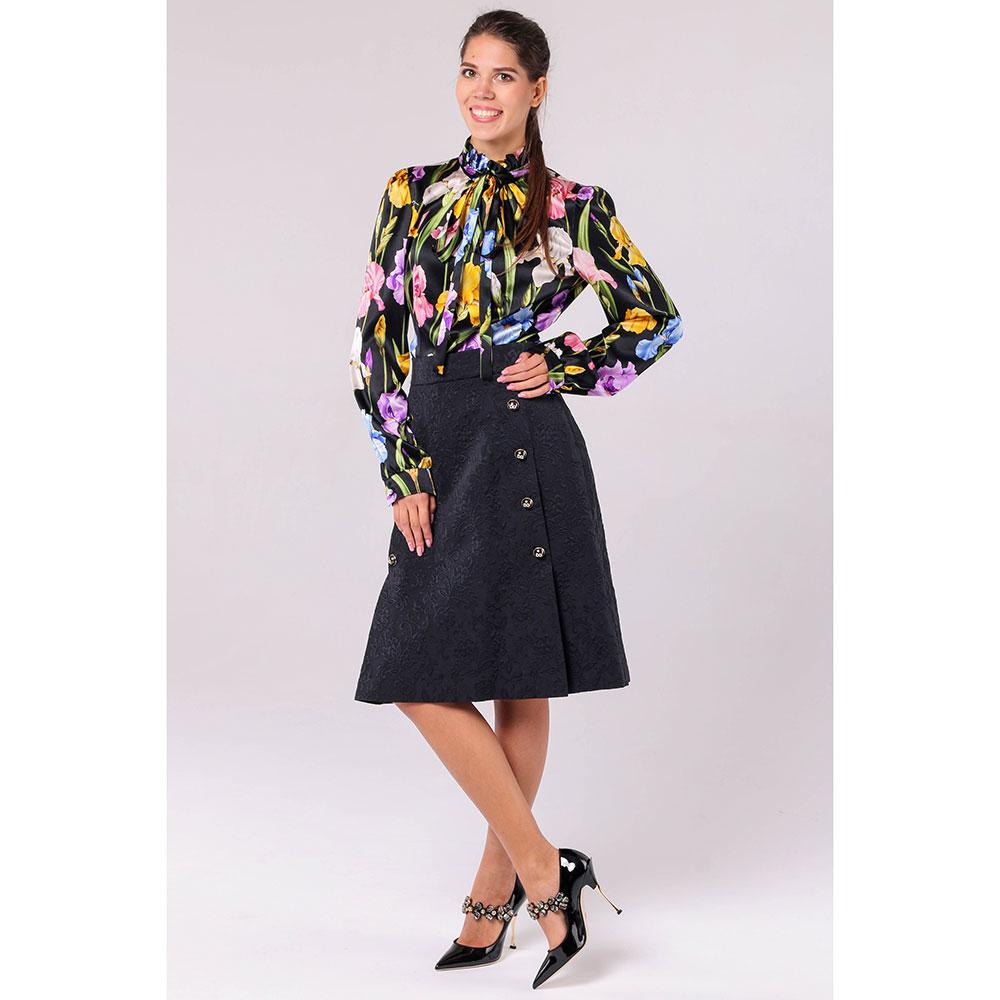 Черная юбка А-силуэта Dolce&Gabbana с высокой талией