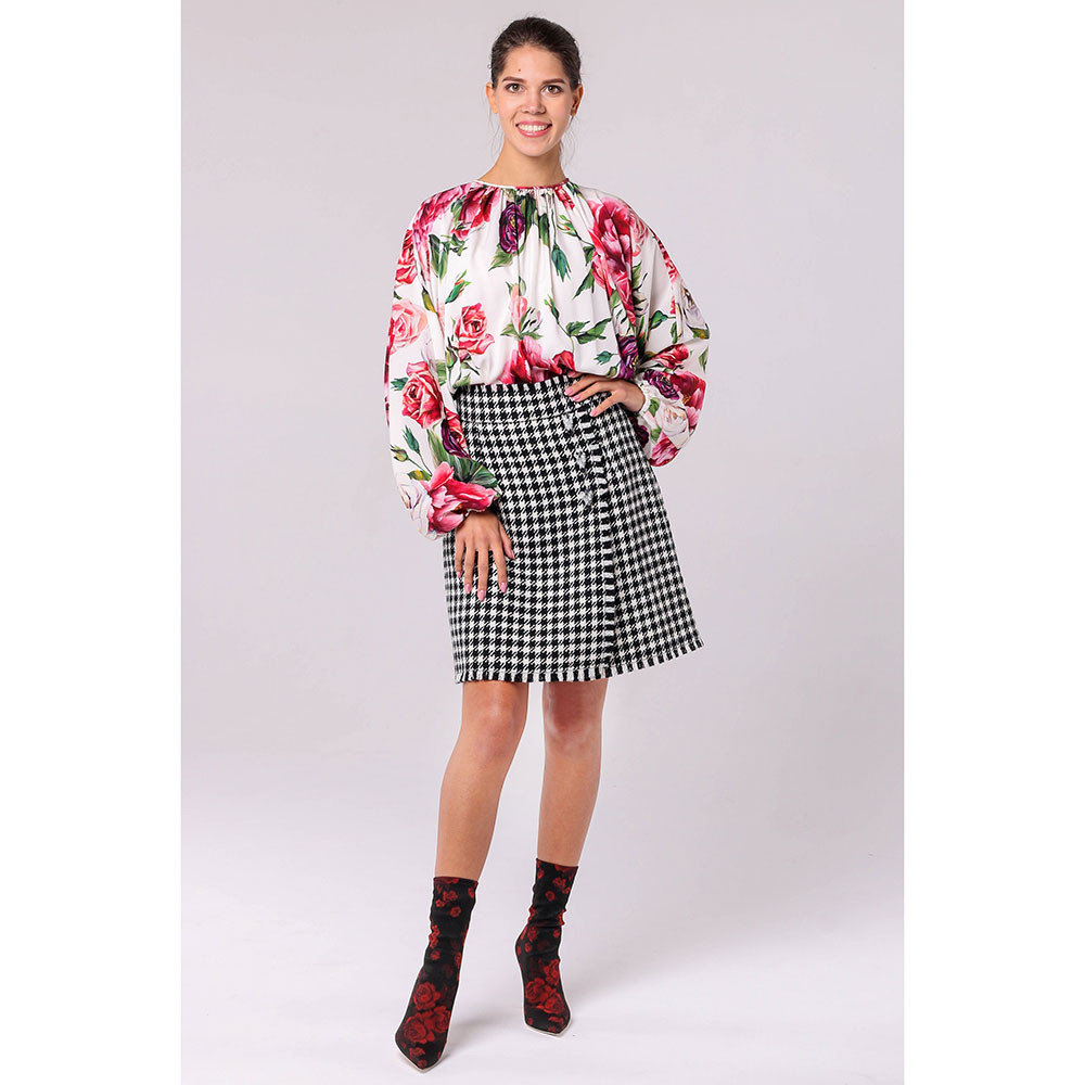 Юбка-трапеция Dolce&Gabbana с орнаментом гусиная лапка