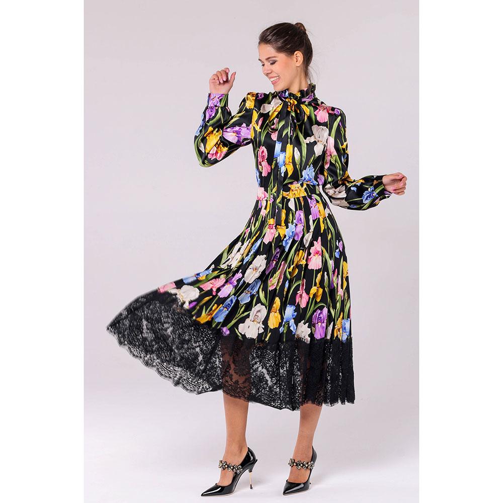 Юбка Dolce&Gabbana с цветочным принтом и кружевом