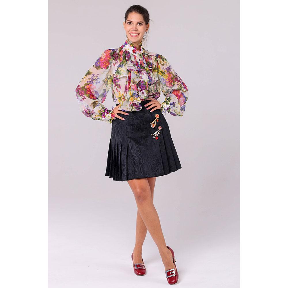 Плиссированная юбка Dolce&Gabbana черного цвета с декором