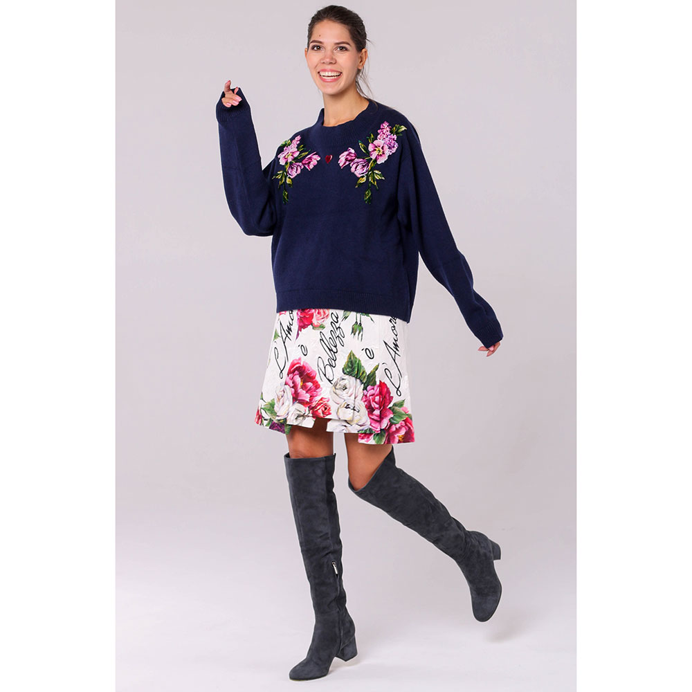 Кашемировый джемпер Dolce&Gabbana синего цвета с вышивкой