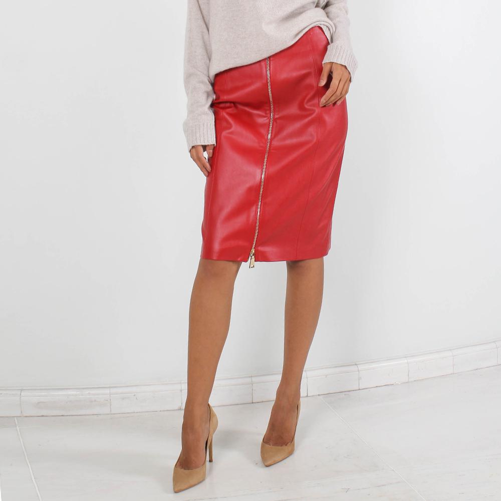 Красная юбка-карандаш Ledition из экокожи с молнией впереди