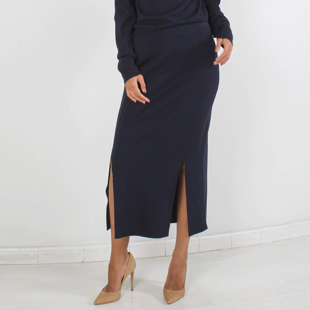 Шерстяная юбка-миди Allude синего цвета с двумя разрезами