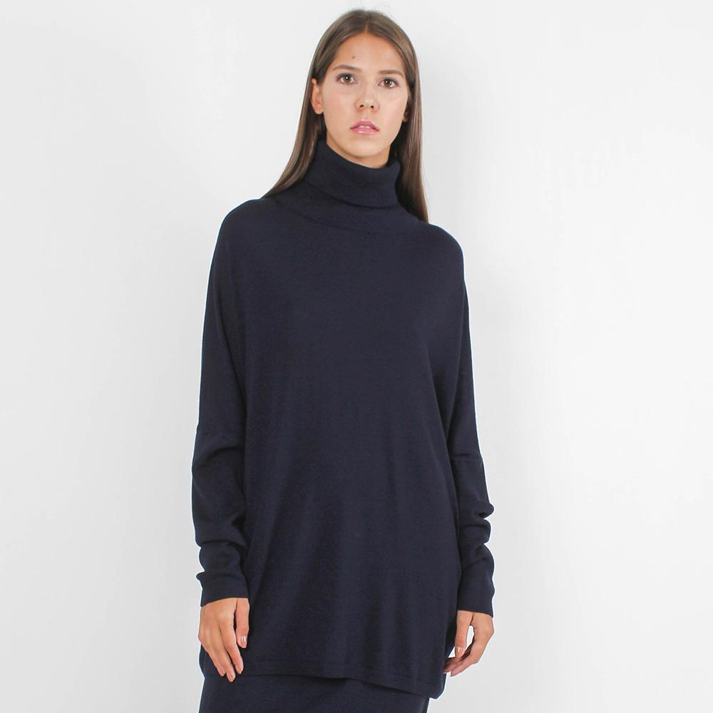 Шерстяной гольф-туника Allude темно-синего цвета