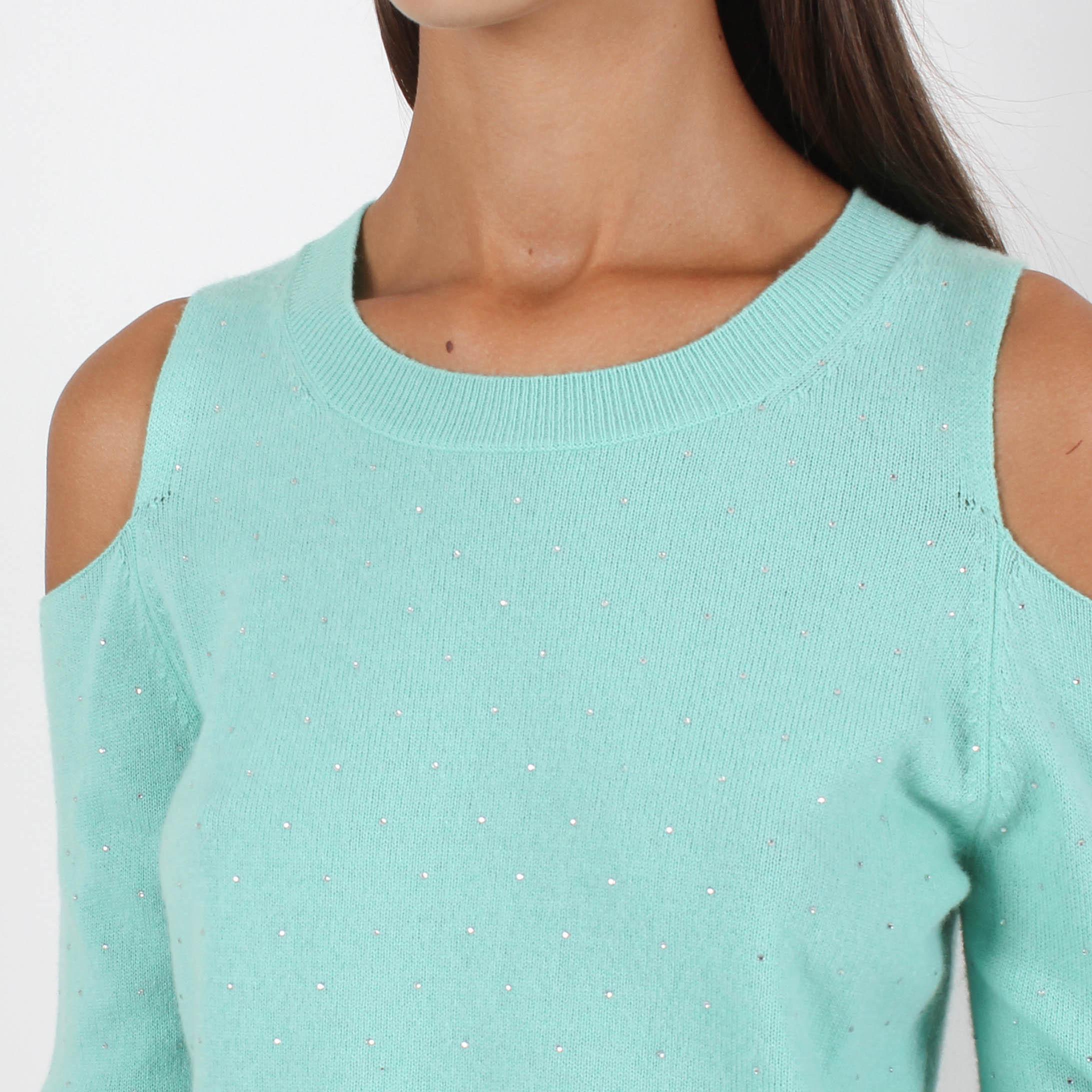 Шерстяной джемпер Allude мятного цвета с открытыми плечами