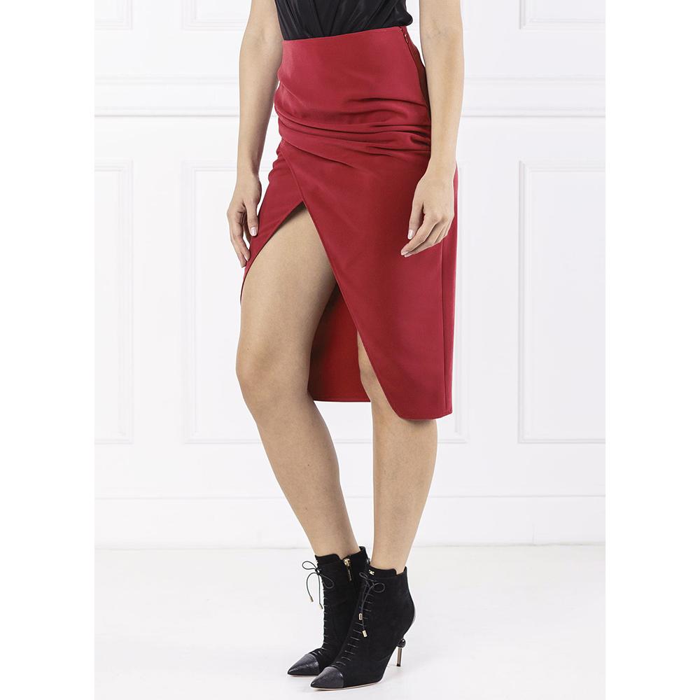 Бордовая юбка Elisabetta Franchi с разрезом
