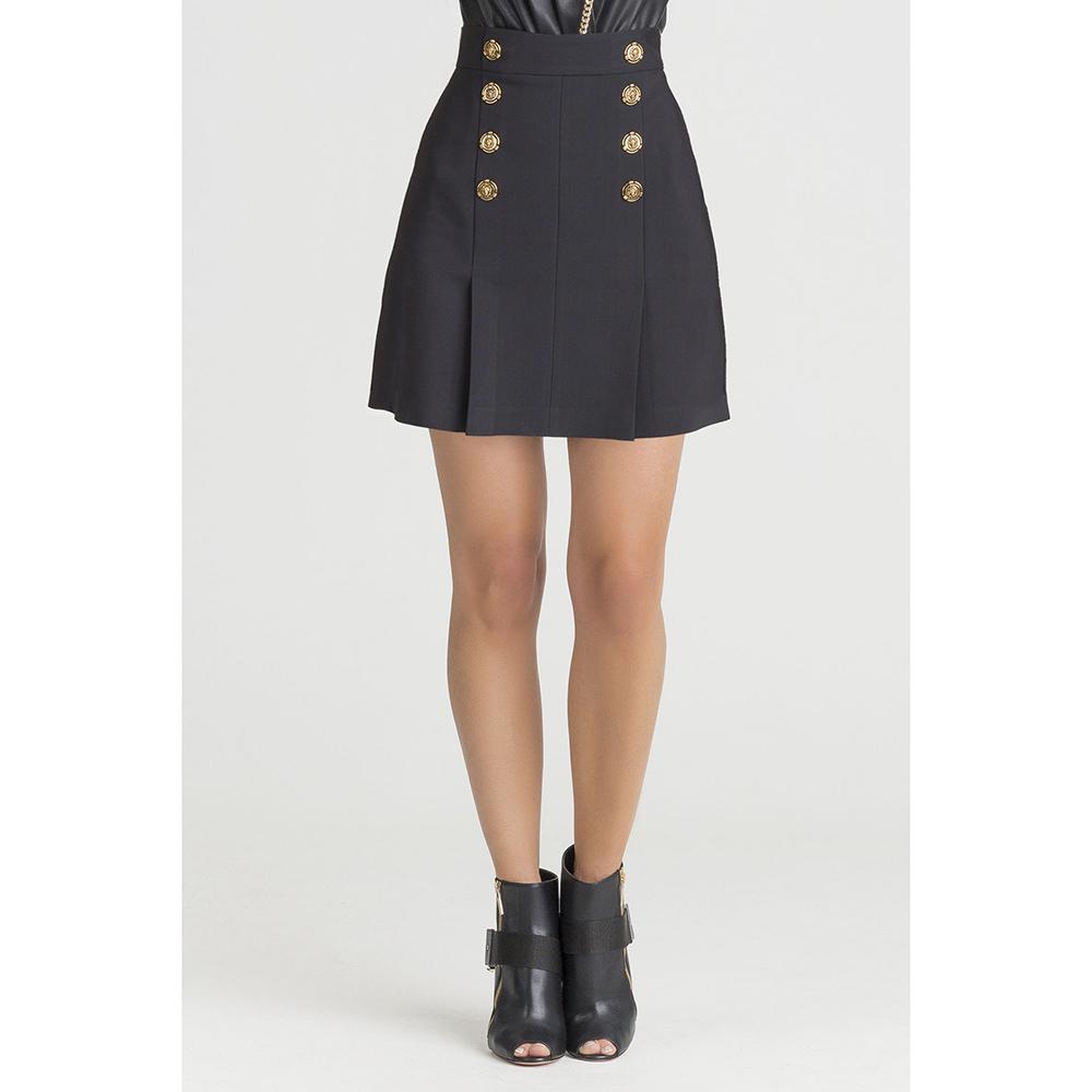 Черная юбка Elisabetta Franchi с золотистыми пуговицами