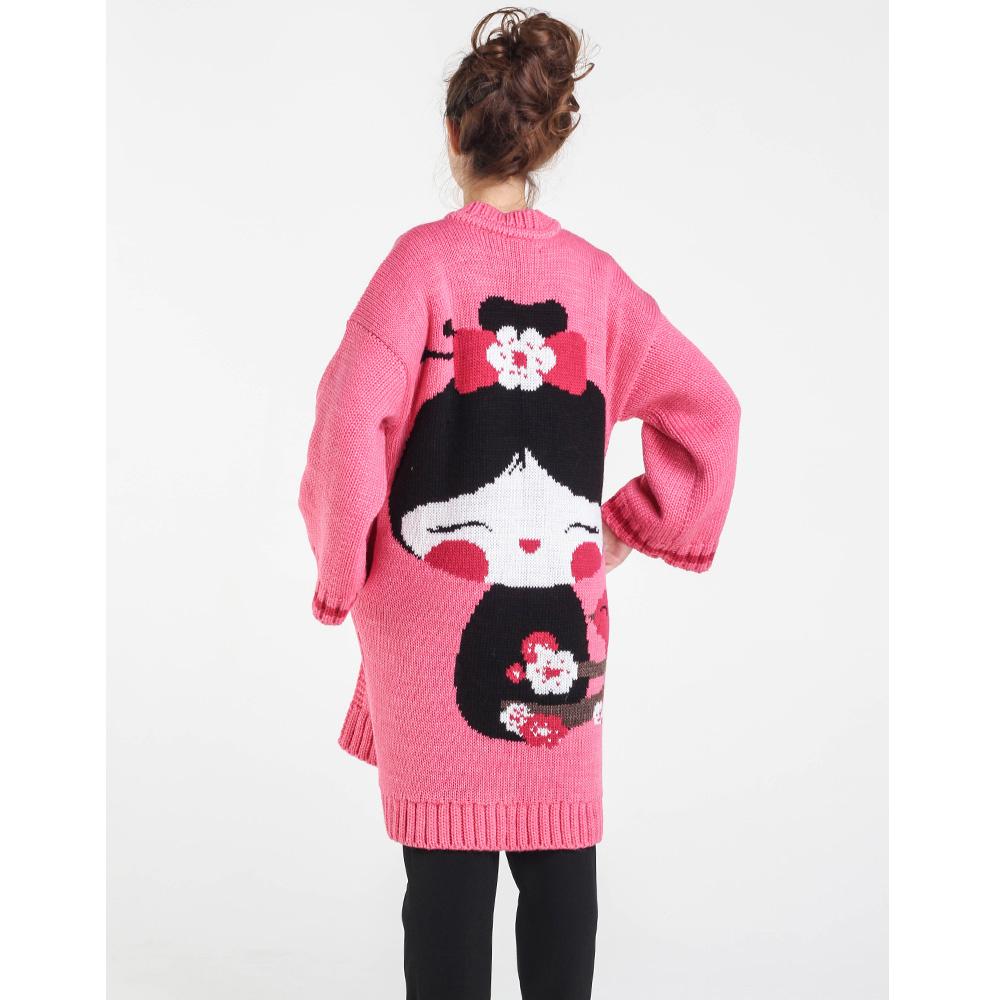 Длинный розовый кардиган Nit.ka с рисунком девочки на спине