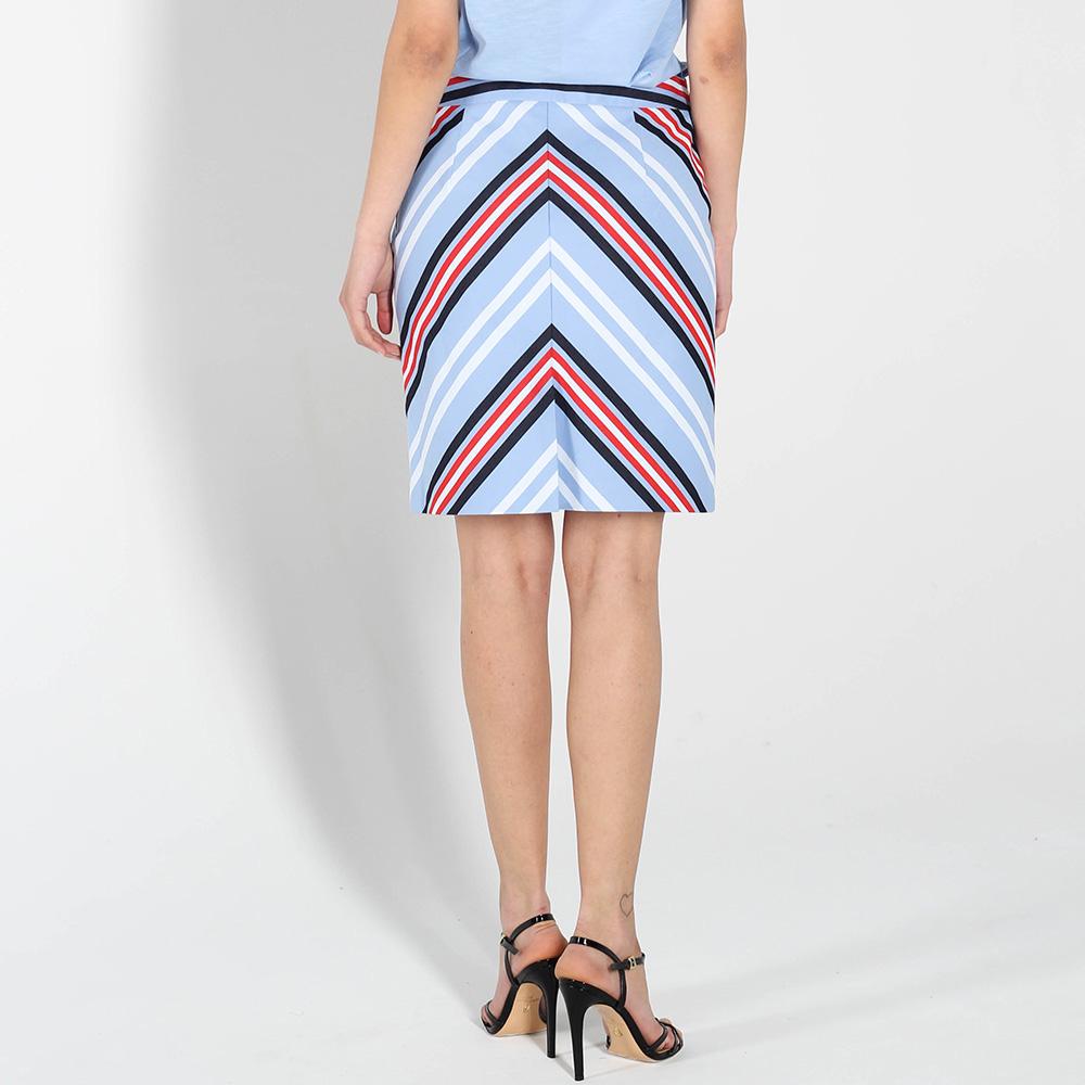 Голубая зауженная юбка Love Moschino с разноцветными полосками