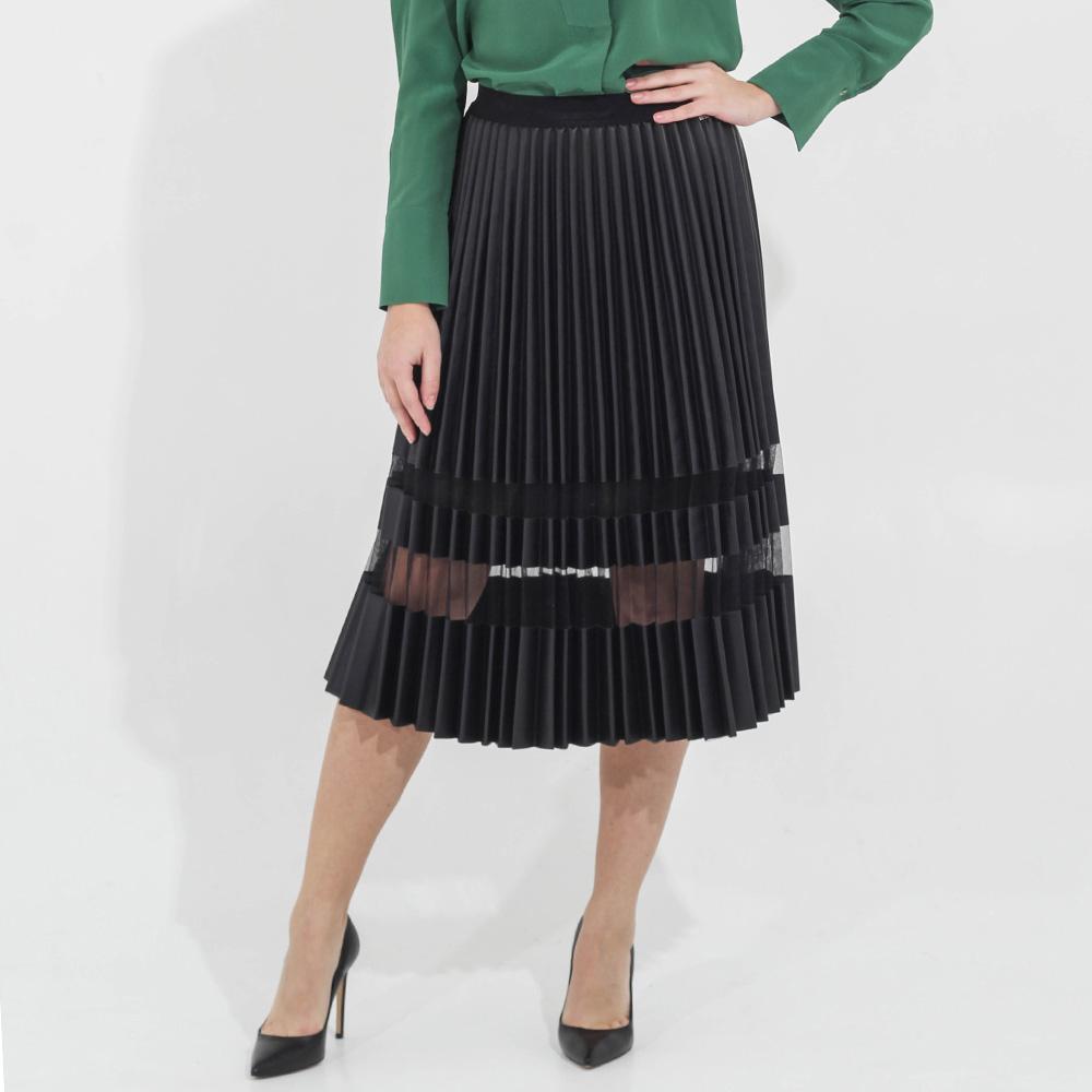 Плиссированная юбка Twin-Set Simona Barbieri с прозрачной вставкой