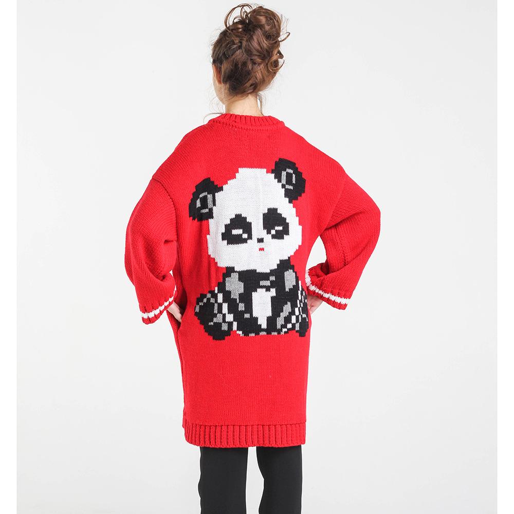 Длинный красный кардиган Nit.ka с рисунком панды на спине