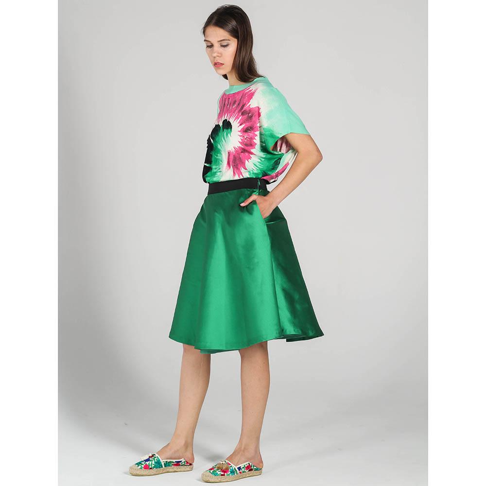 Юбка-клеш P.A.R.O.S.H. зеленого цвета с атласным блеском