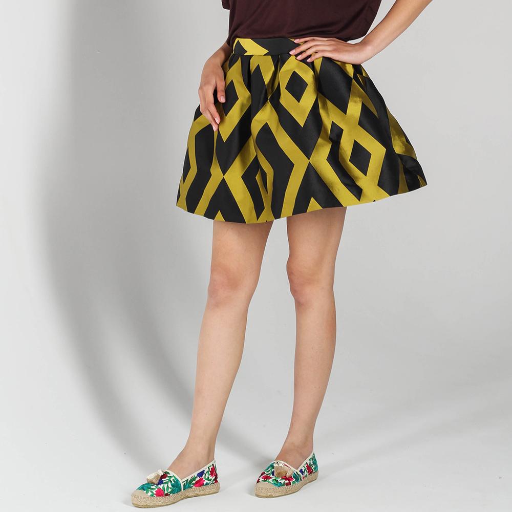 Короткая пышная юбка P.A.R.O.S.H. с желтыми ромбами