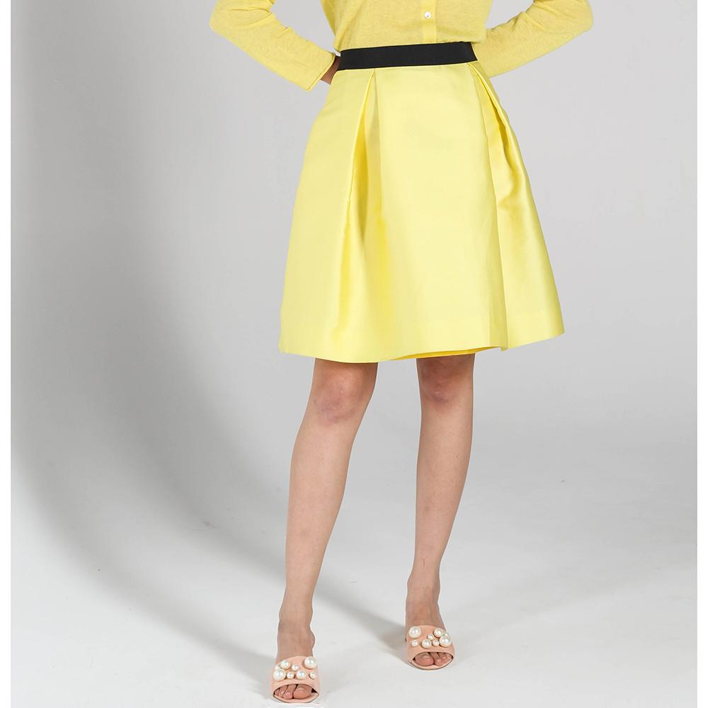 Юбка-трапеция P.A.R.O.S.H. желтого цвета со складками