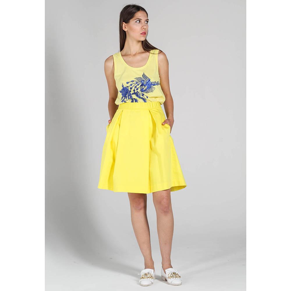 Коттоновая юбка-трапеция P.A.R.O.S.H. желтого цвета со складками