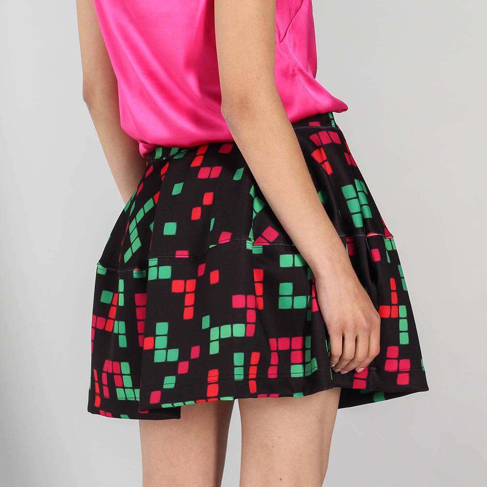 Черная юбка-клеш P.A.R.O.S.H. с разноцветными квартатами