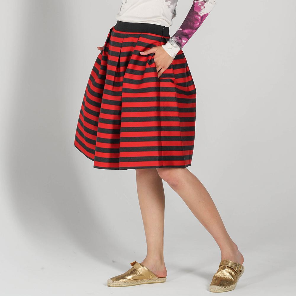 Пышная юбка P.A.R.O.S.H. красного цвета в черную полоску