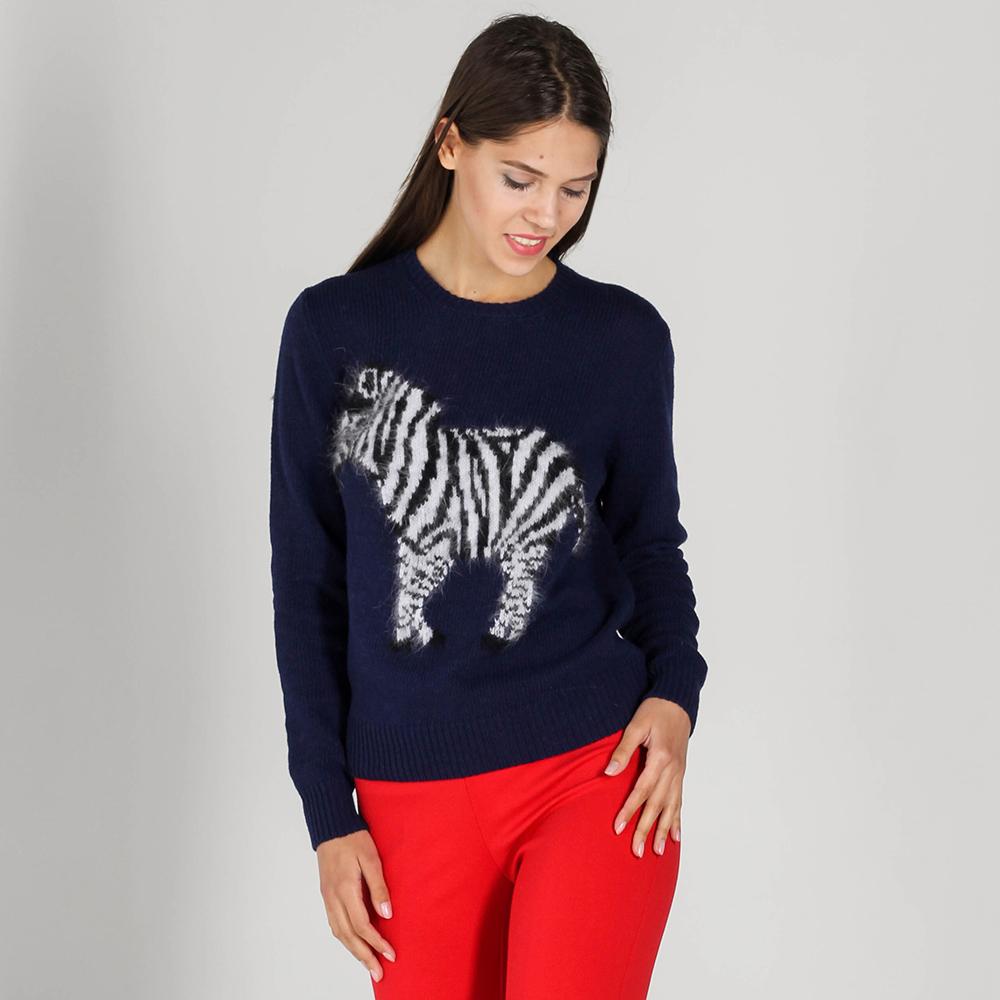 Джемпер P.A.R.O.S.H. синего цвета с зеброй