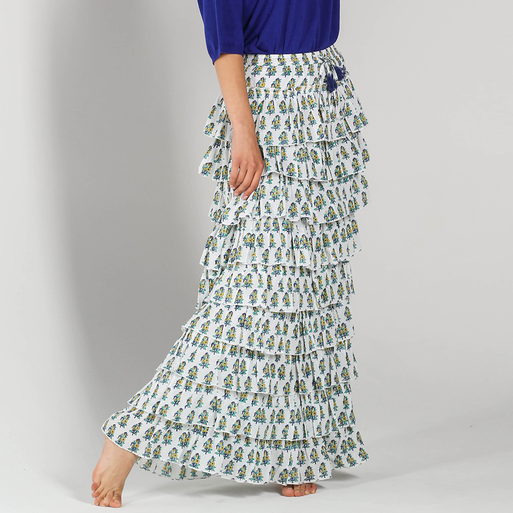 Длинная юбка P.A.R.O.S.H. с воланами и цветочным принтом