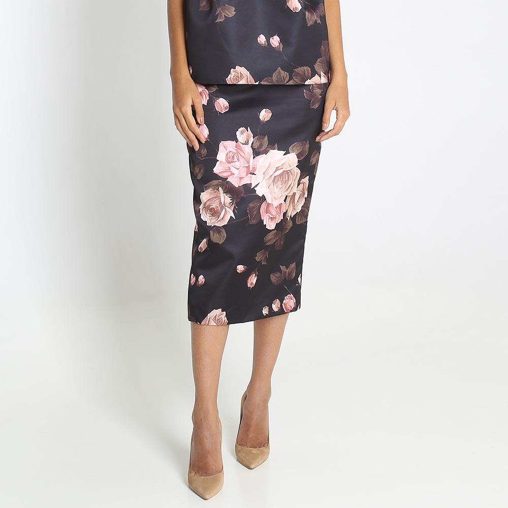 Шелковая юбка Rochas с цветочным принтом
