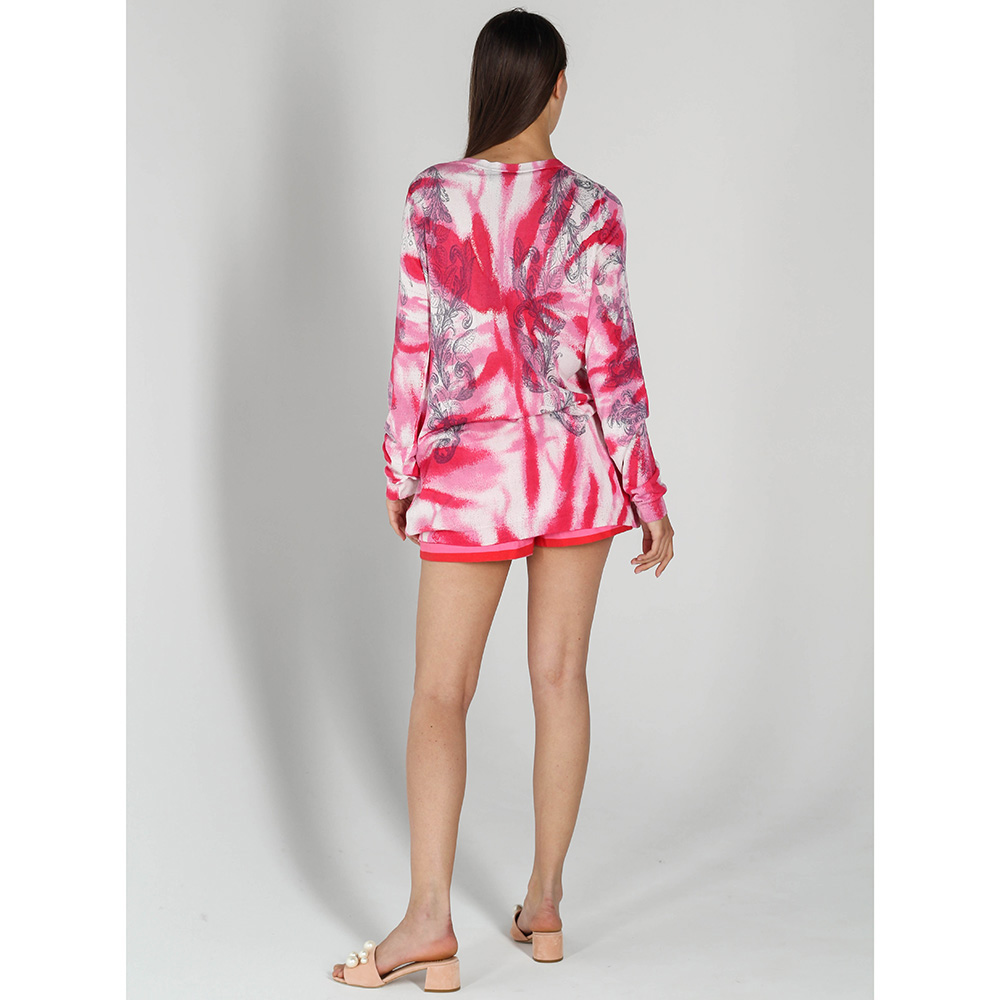 Трикотажная кофта John Richmond розовая с абстрактным принтом