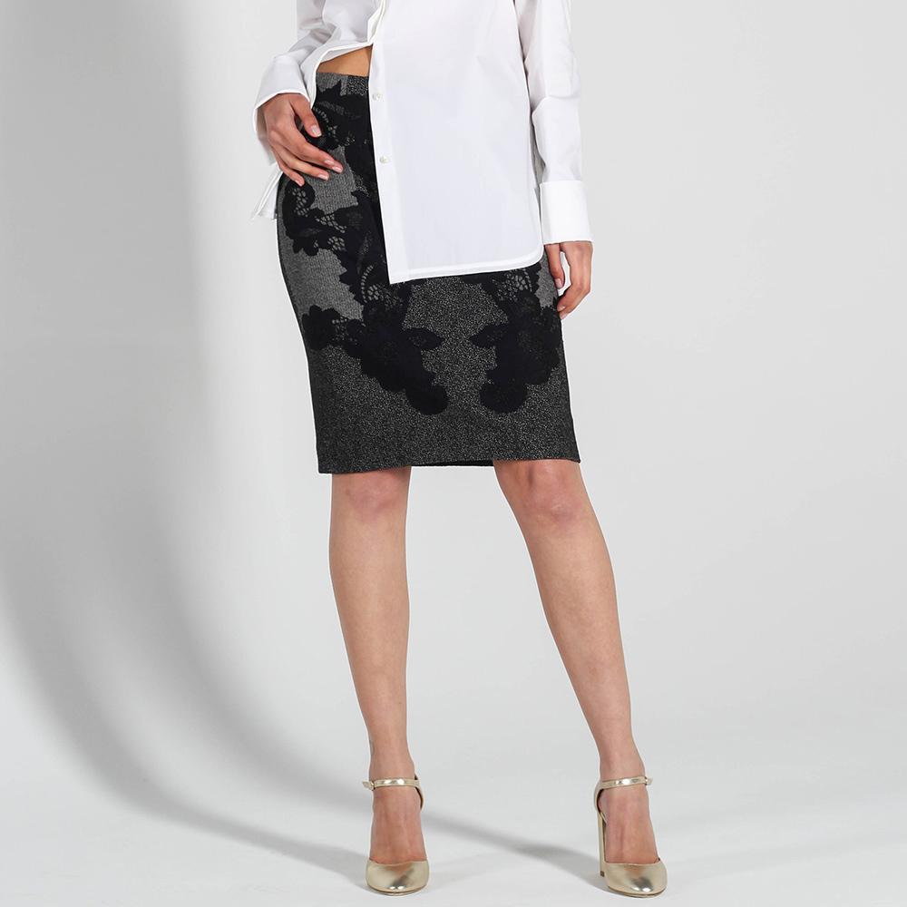 Серая юбка-карандаш DVF с черным кружевом