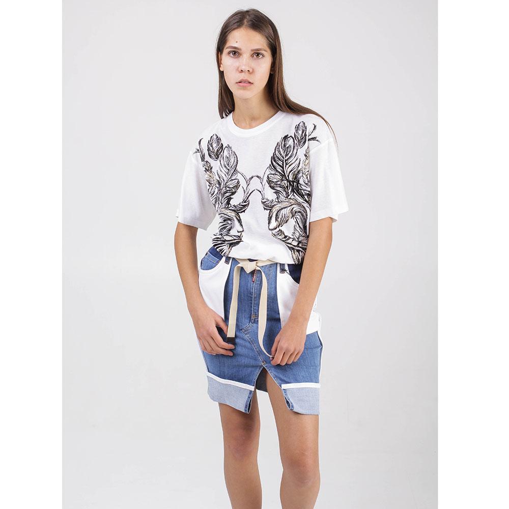 Джинсовая юбка Dsquared2 с белыми накладными карманами
