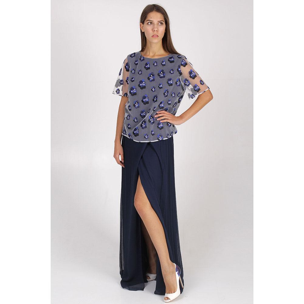 Длинная юбка DVF синего цвета с разрезом