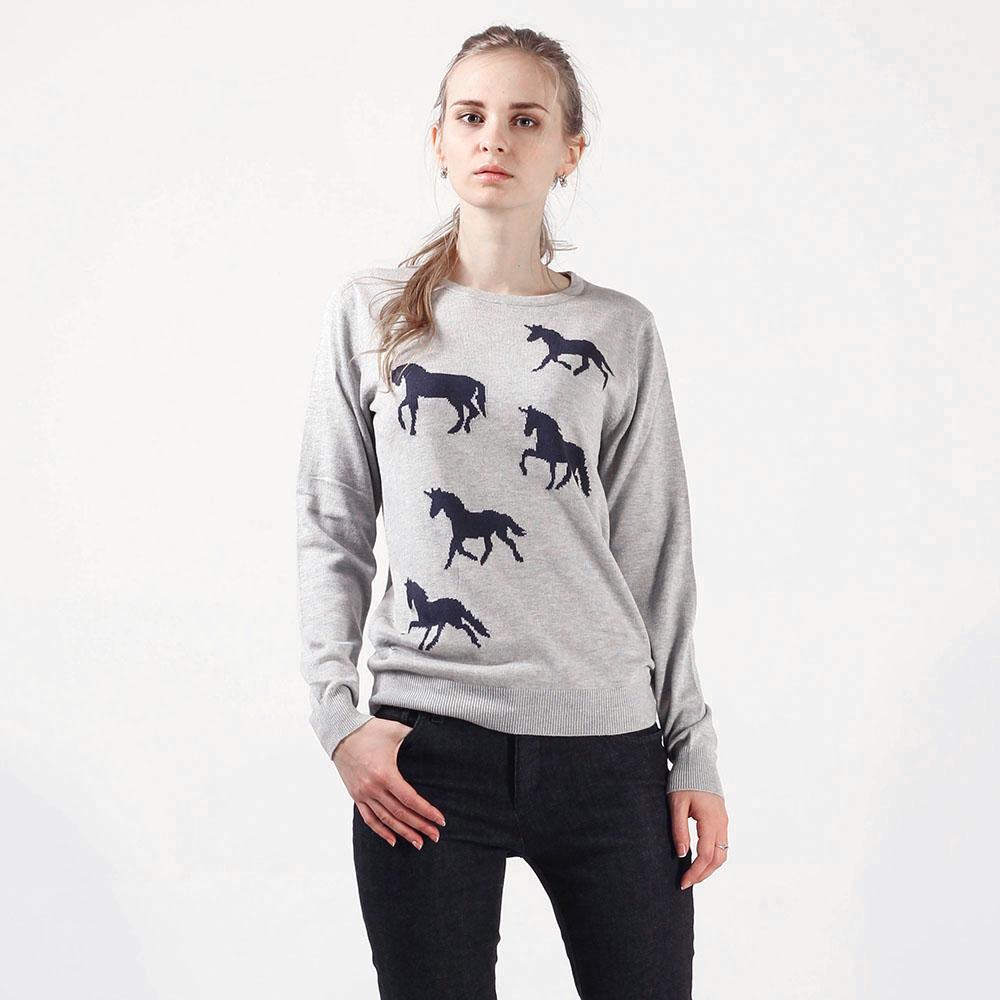 Вязаный джемпер Sugarhill Unicorn серого цвета с черными единорогами