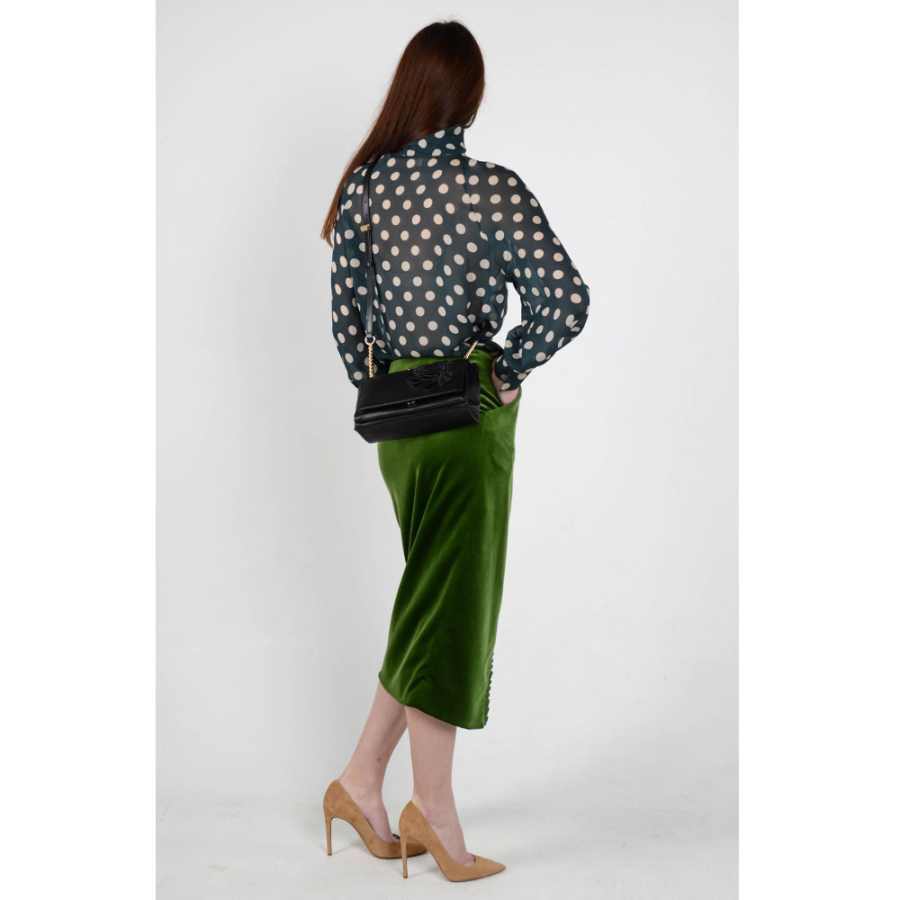Бархатная юбка с запахом The Body Wear зеленого цвета