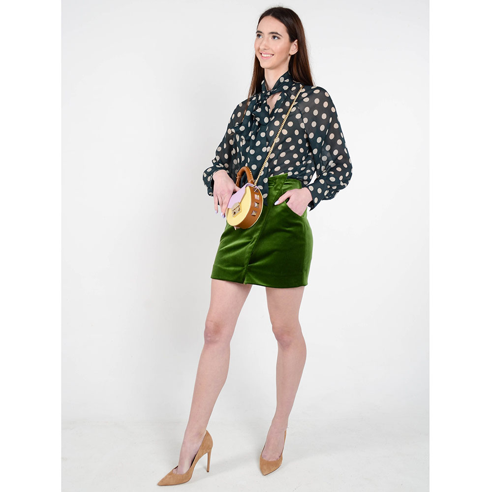 Бархатная мини-юбка с запахом The Body Wear зеленого цвета