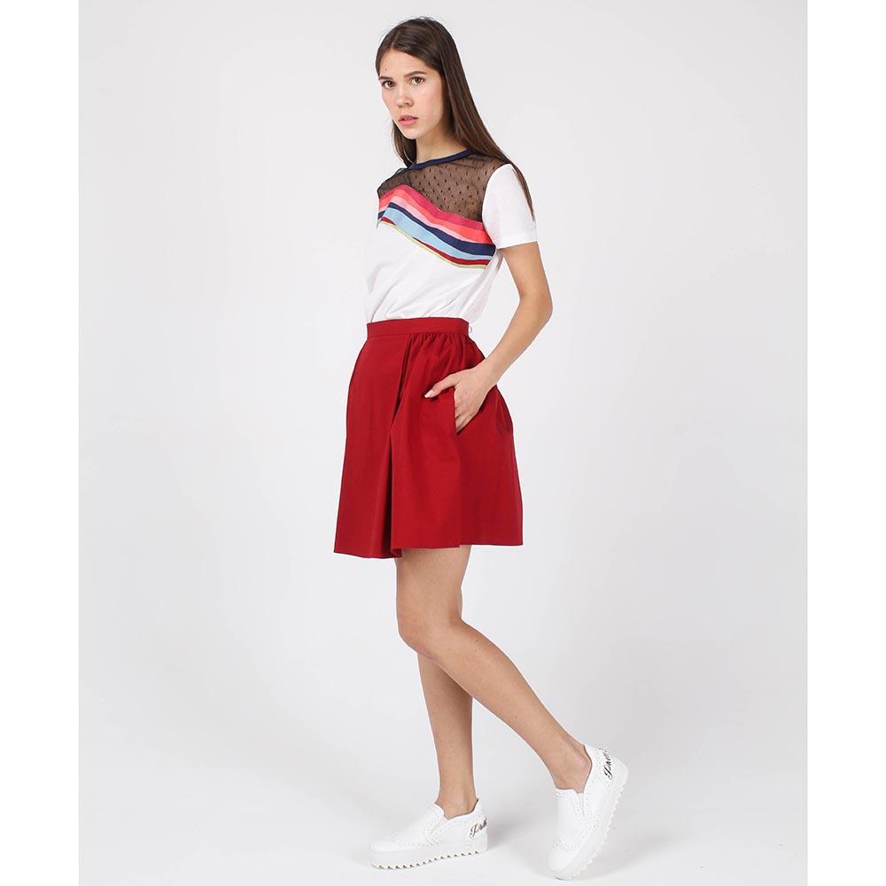 Юбка Red Valentino красная со сборками на талии
