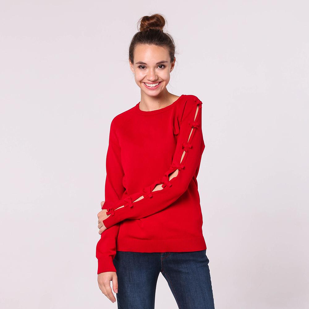 Красный джемпер Red Valentino с декором бантами