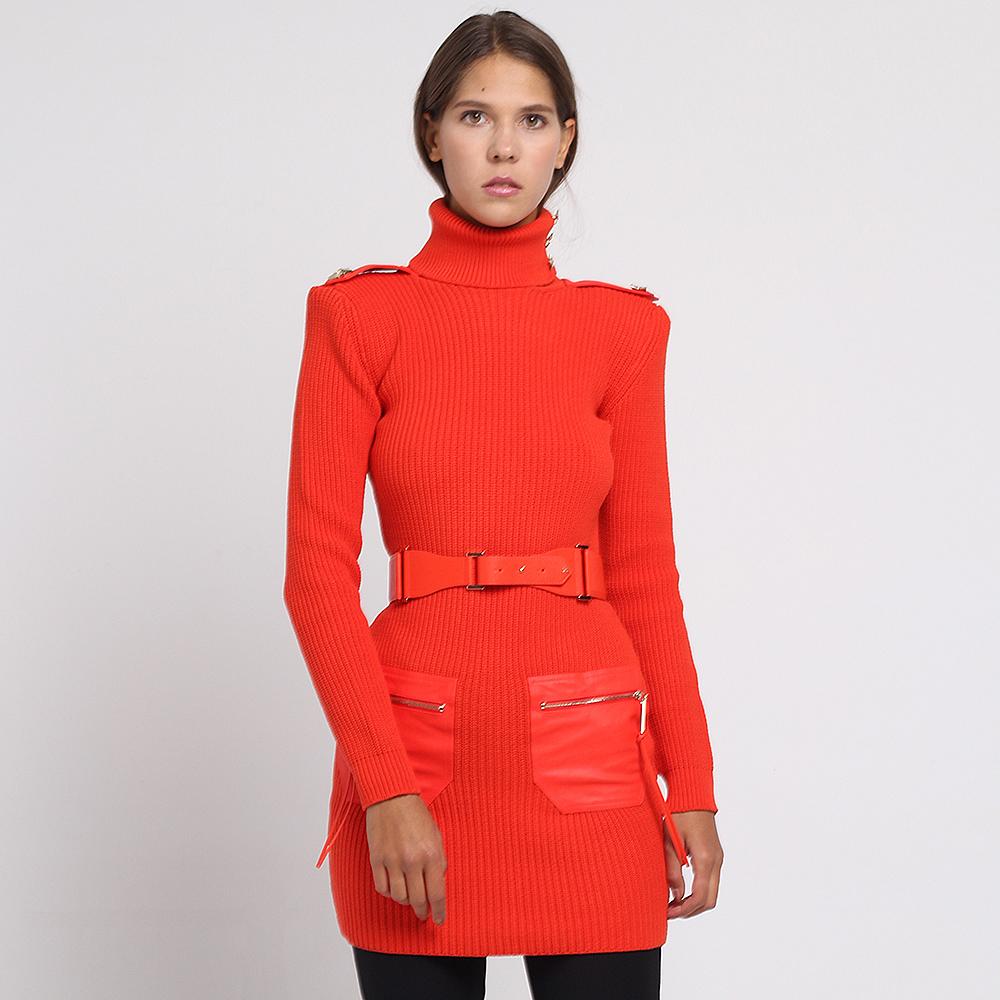 Вязаная туника Elisabetta Franchi красного цвета с объемными плечами