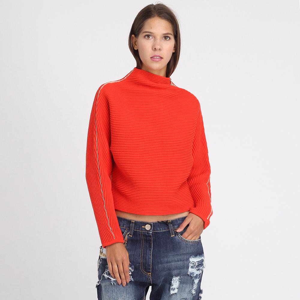 Короткий вязаный свитер Elisabetta Franchi красного цвета