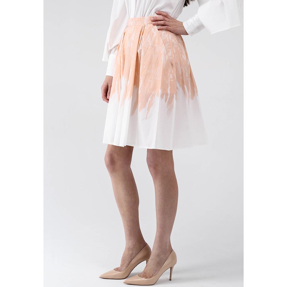 Юбка с высокой талией Elisabetta Franchi бежевая с белым