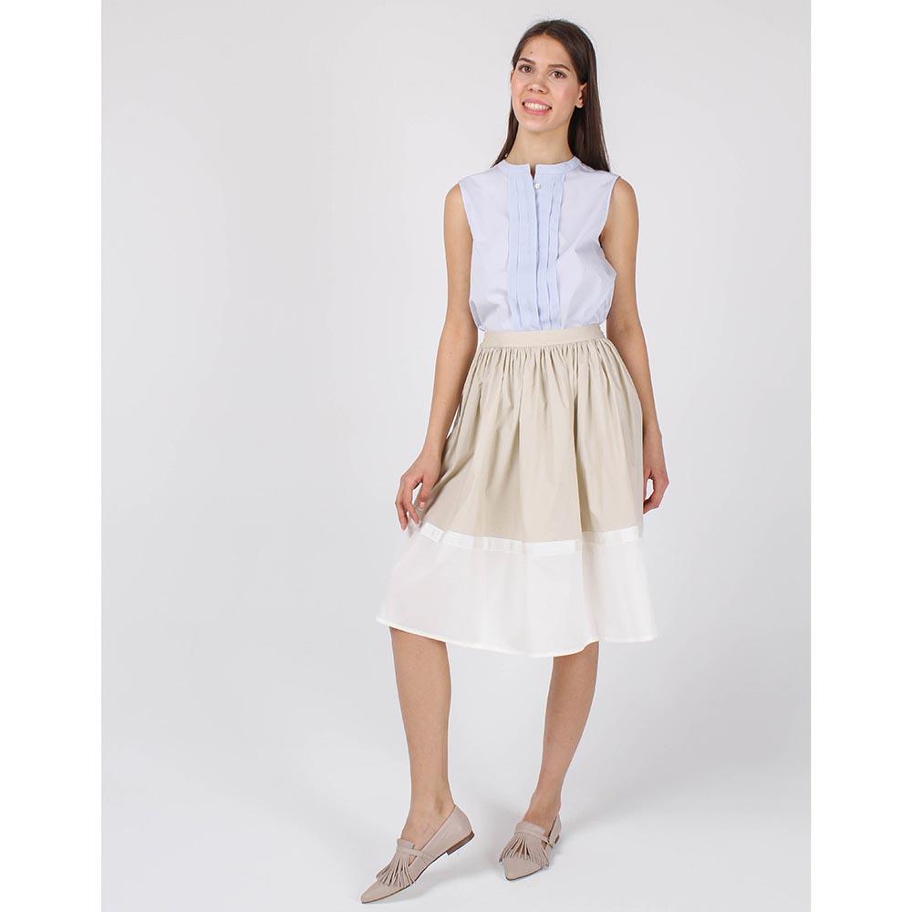 Юбка-клеш Armani Jeans бежевая с белой отделкой