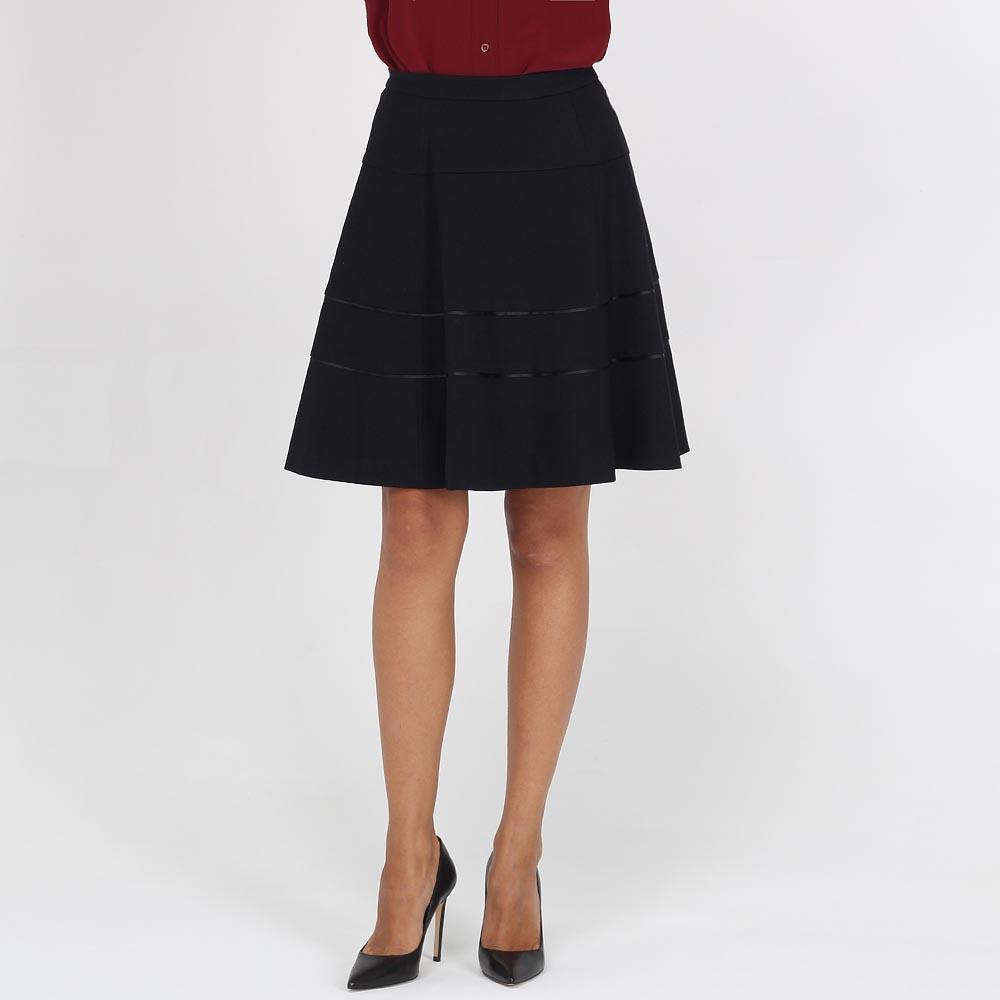 Черная юбка-клеш Armani Jeans с отделкой лентами