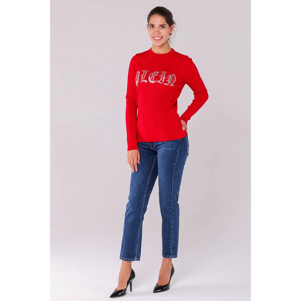 Пуловер Philipp Plein красного цвета с декором-стразами