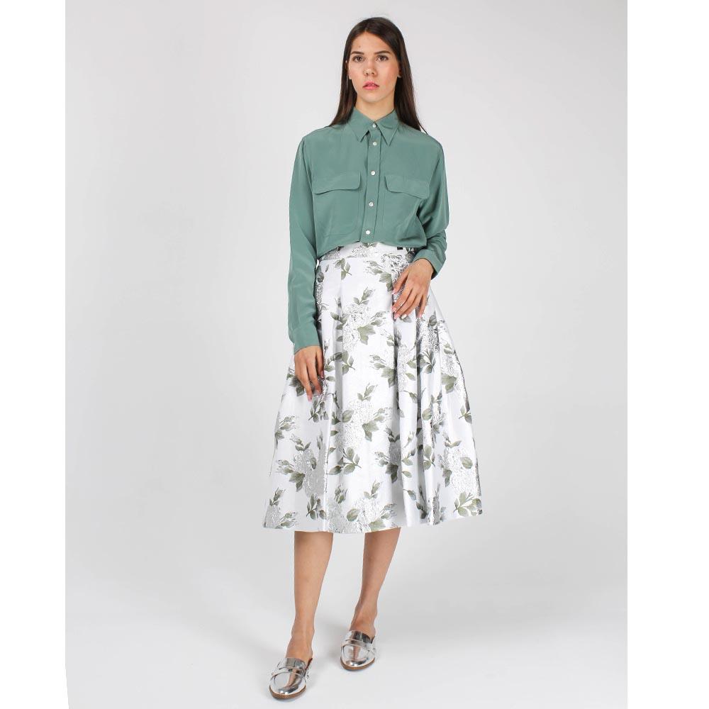 Пышная юбка-миди Cavalli Class белая с цветочным принтом