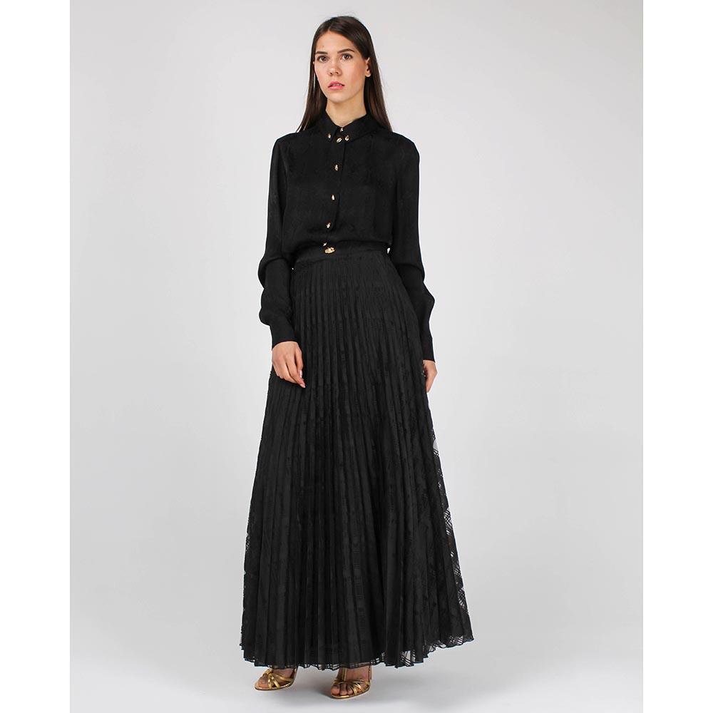 Плиссированная кружевная юбка Cavalli Class черного цвета