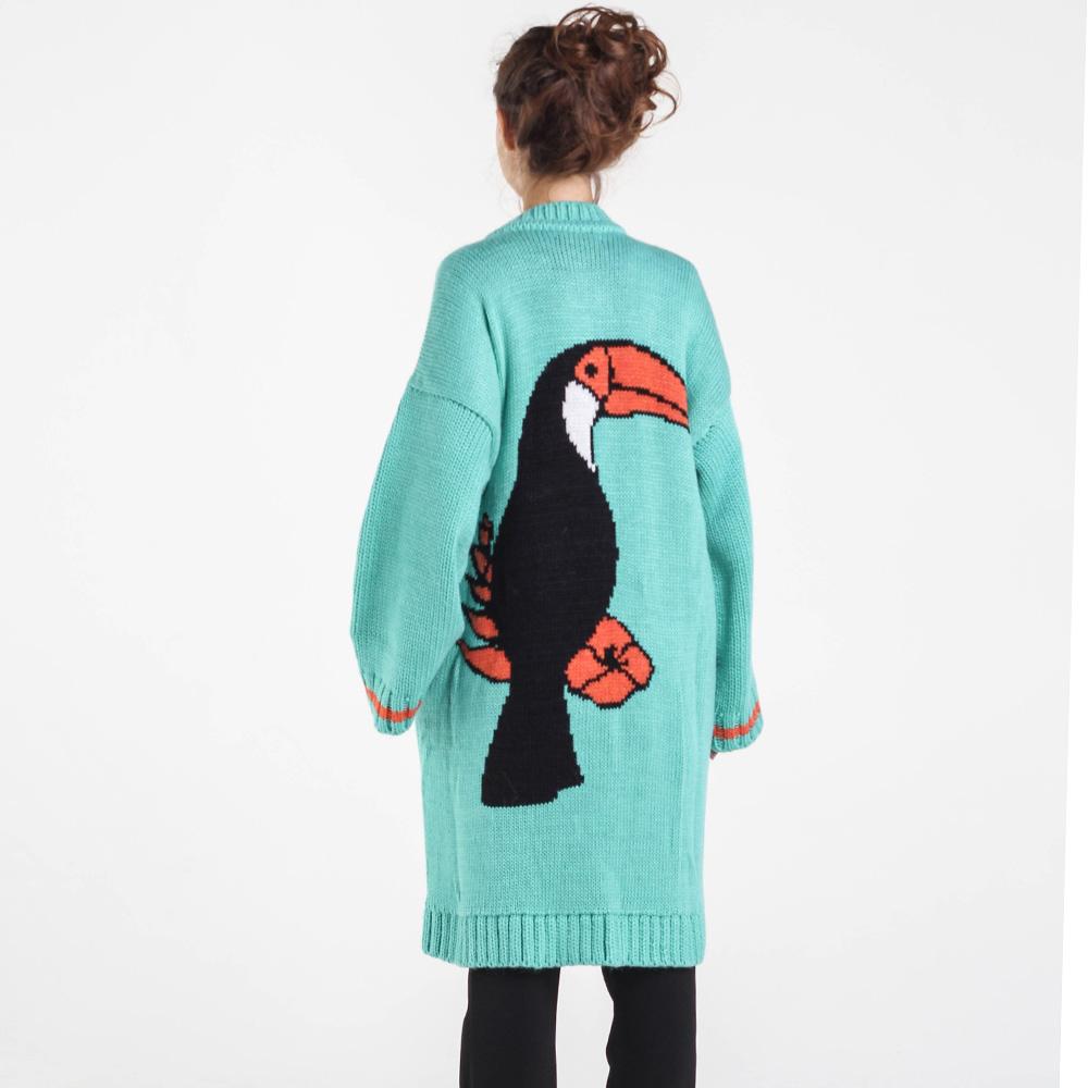 Длинный зеленый кардиган Nit.ka с рисунком птицы на спине