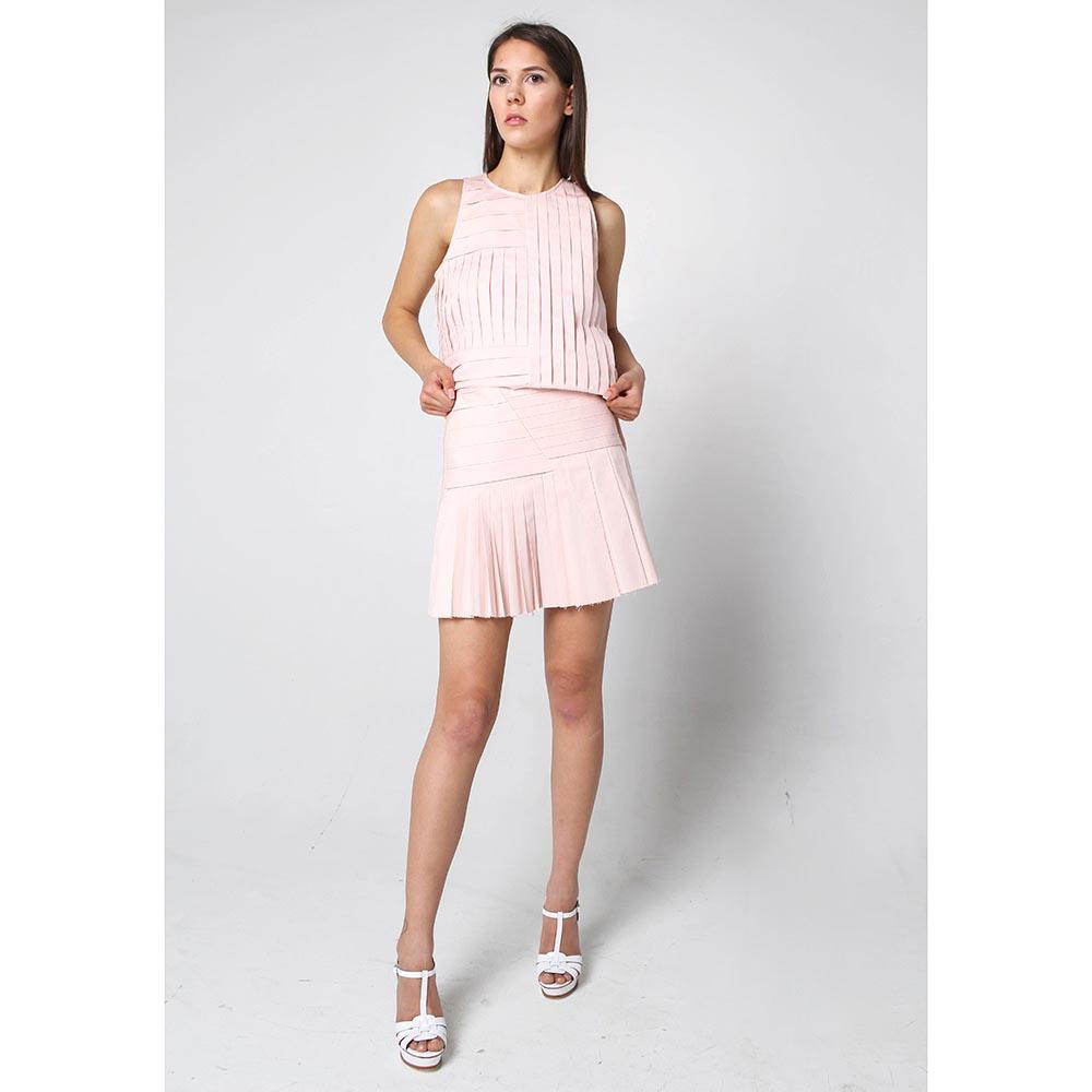 Коттоновая юбка в складку Wnderkammer розового цвета